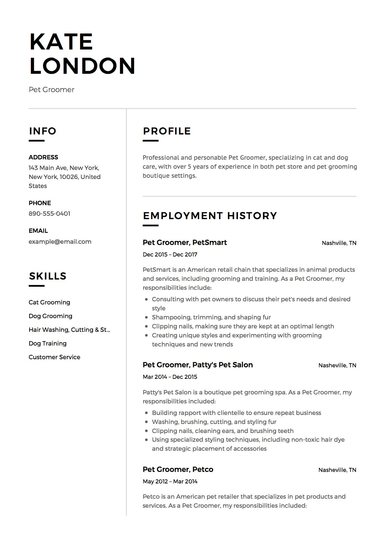 pet groomer resume example