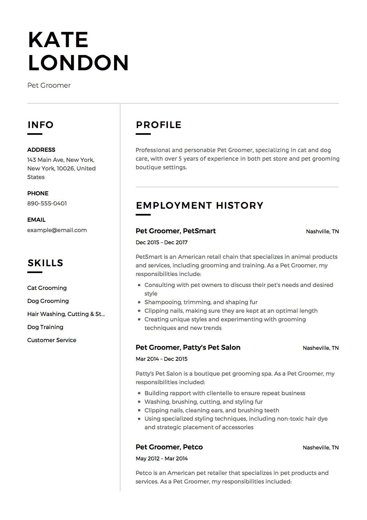 Pet Groomer Resume Example Pet Groomers Groomer Resume
