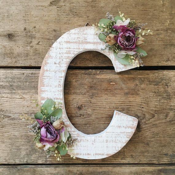 Wildflower Wooden Letter C Floral Letter Wooden Letter