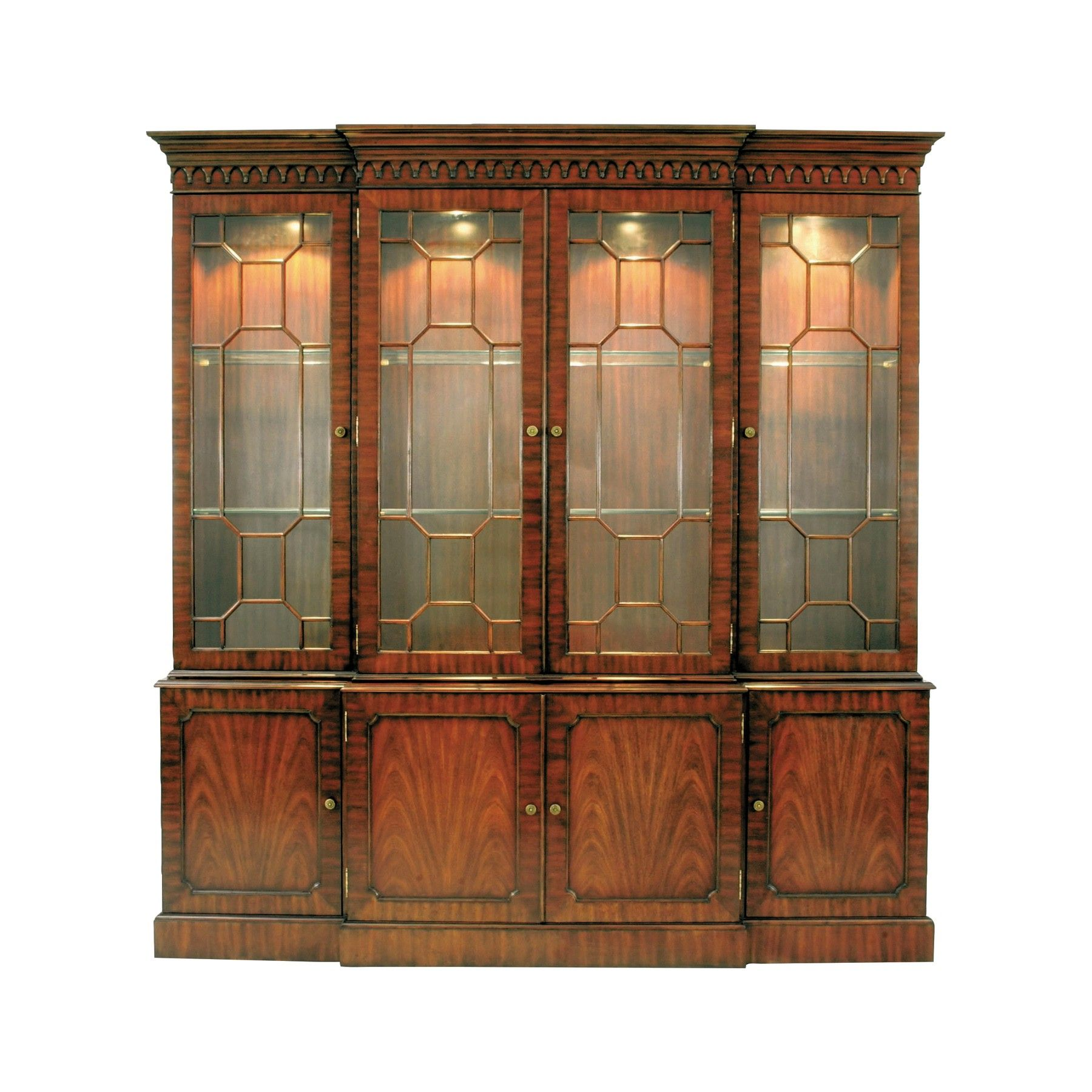 Shop For Maitland Smith Mahogany Breakfront Lighted China Cabinet Glass Shelves Light Antique Brass Mounts And Other Dining Room Cabinets At Whitley