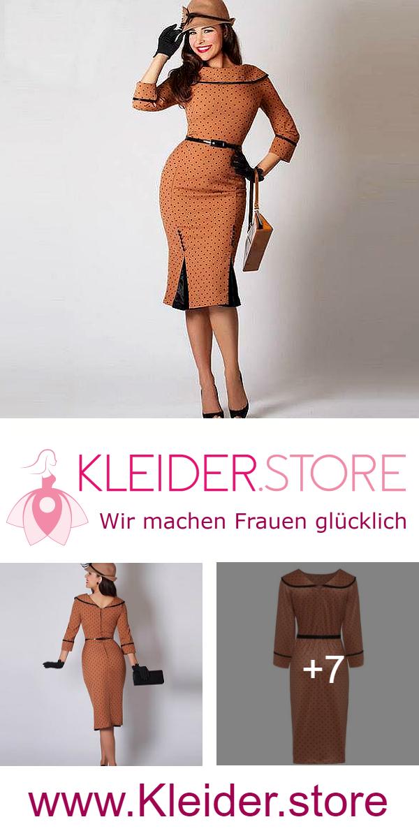 Elegantes Figurbetontes 50er Polka Dot Kleid In Braun Dir Gefallt Das Kleid Dann Probiere Das Kleid Jetzt Unverbindlich Kleider Modestil 60er Jahre Kleider