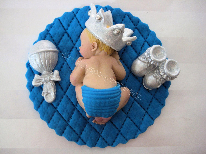 Blue Bassinet with Sleeping Baby Boy Favor Craft DIY Baby Shower Gender Reveal