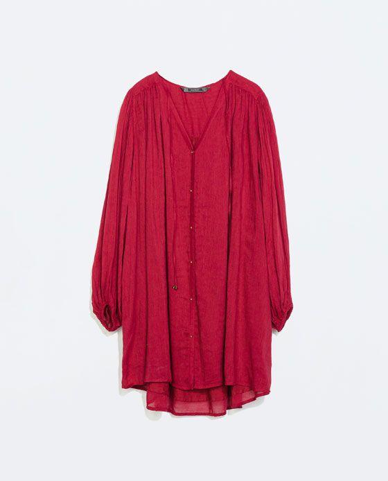 ZARA - TRF - DRESS WITH PUFFED SLEEVES