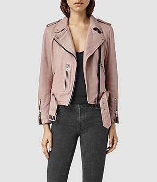 dd9340a2f11b3 ALLSAINTS US: Womens Wyatt Zip Leather Biker Jacket (BLUSH PINK) | I ...