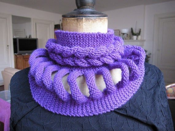 Photo of Original Snood, Choker, purple collar braid, scarf