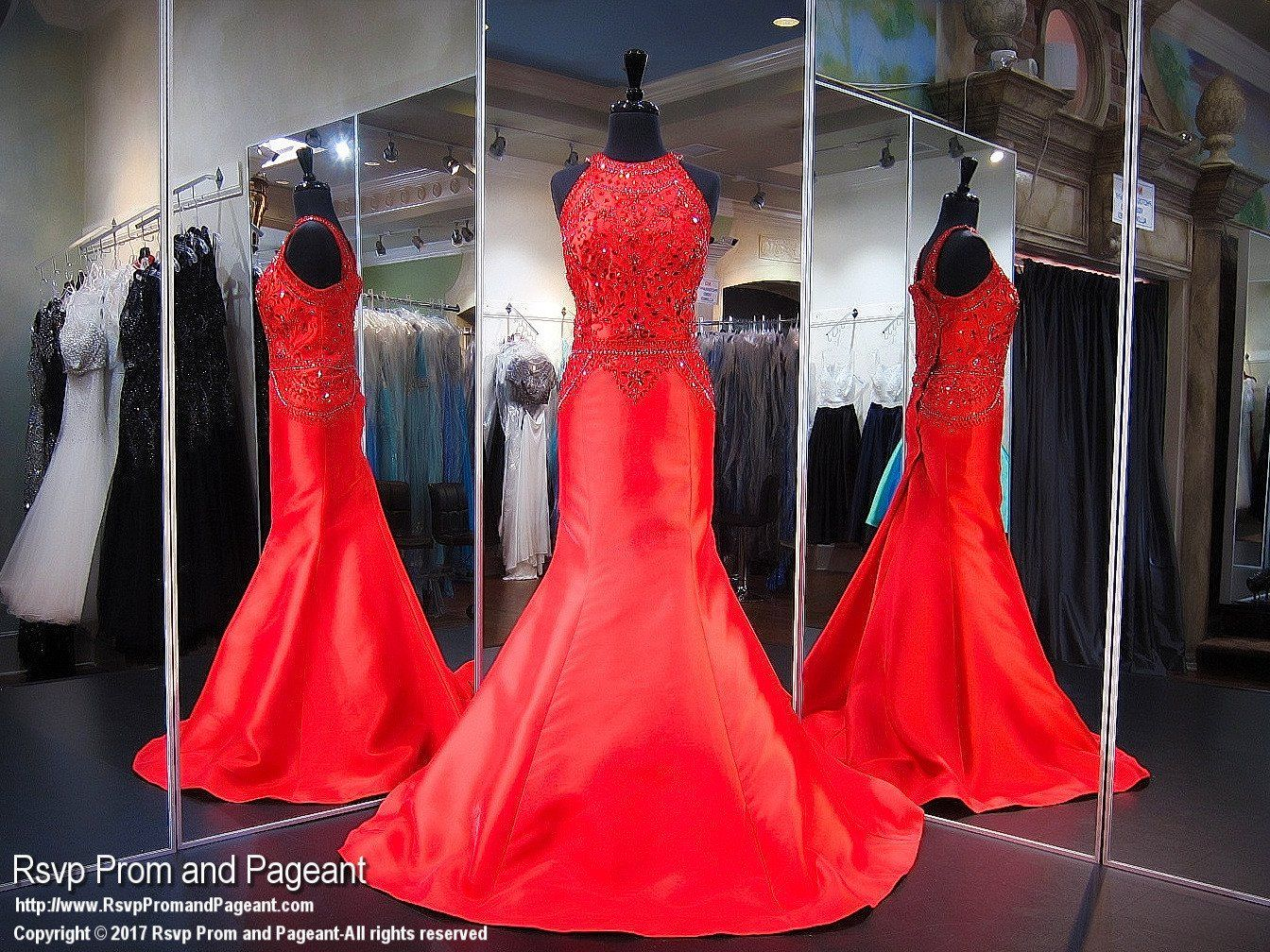 Plus size red high neck prom dress products