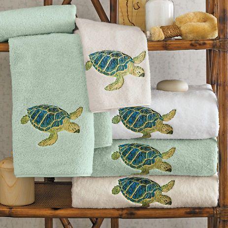 Island Sea Turtle Towels Turtle Bathroom Decor Turtle Bathroom