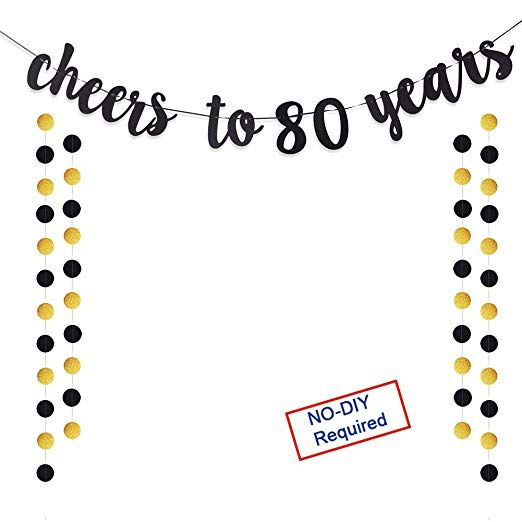 80th Wedding Anniversary Gift: Cheers To 80 Years Gold Glitter Banner For Adult 80th