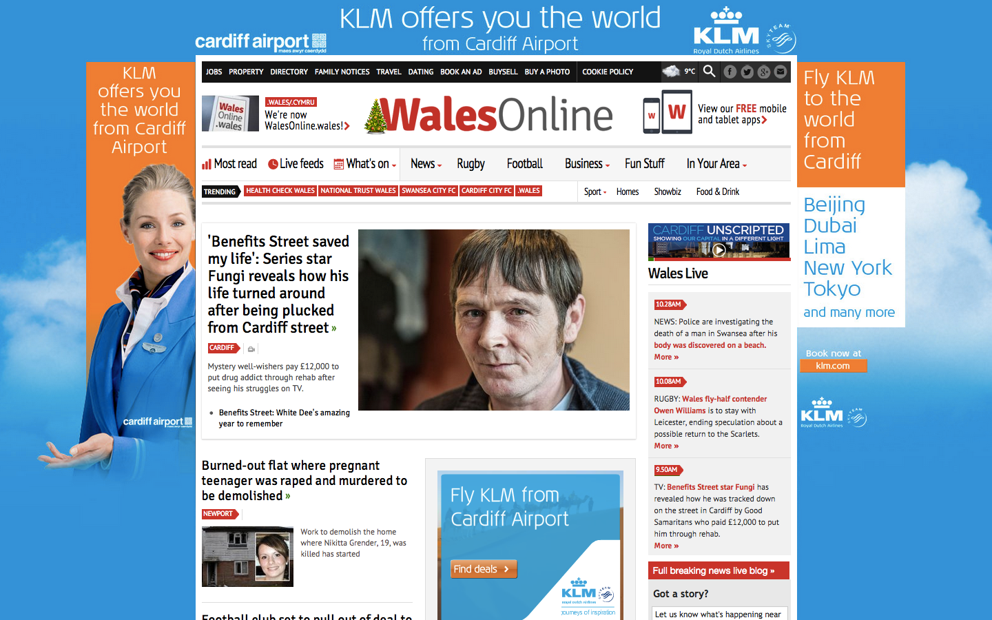 726355e3014707 We organised a homepage takeover on Wales Online for client KLM and Cardiff  Airport for the first day back to work after the festive period