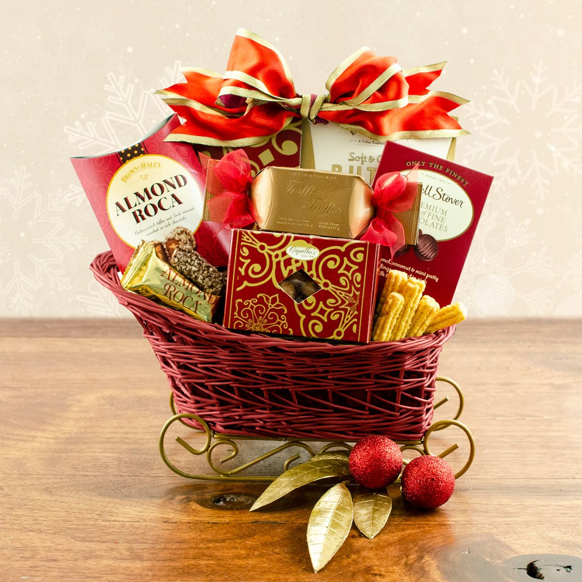 $28.99 A red holiday sleigh basket piled high with gourmet goodies is a beautiful sight ...