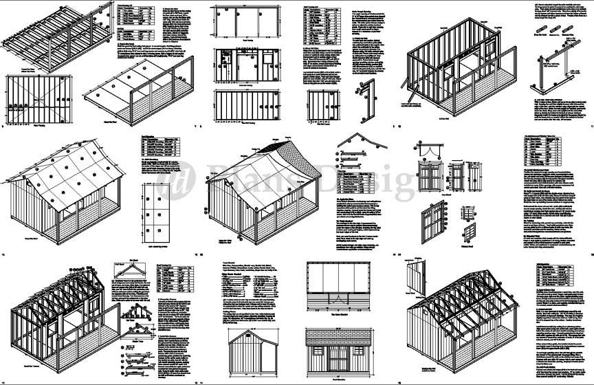 Details about 12' x 16' Shed with Porch / Pool House Plans