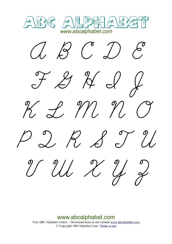 capital cursive letter chart free cursive letters alphabet chart with uppercase capital letters