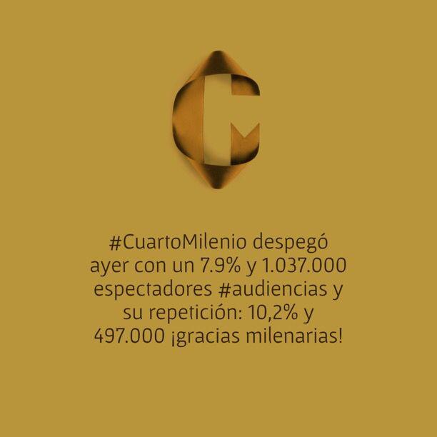 CuartoMilenio despegó ayer con un 7.9% y 1.037.000 espectadores ...