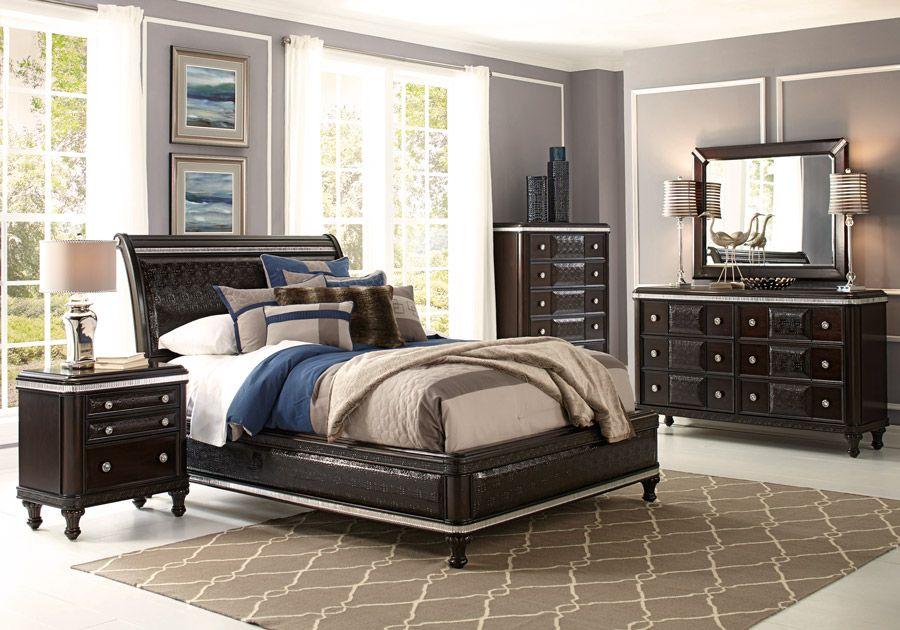 Hefner Espresso 5 Pc Queen Bedroom Bedroom Furniture Brands