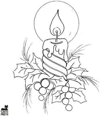 Dibujo Vela De Navidad Pintura En Tela Navidad Patrones De Bordado Pintura En Tela Navidena