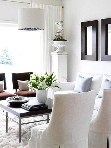 Small-Space Solutions for Every Room Simple prints, Neutral walls