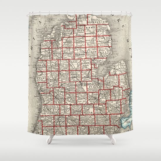 Vintage Map Of Michigan 1893 Shower Curtain Map Of Michigan Vintage Map Shower Curtain