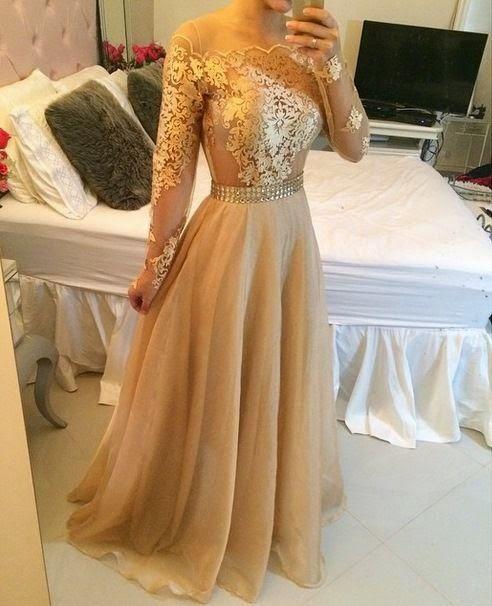 Vestidos de festa de renda dourado