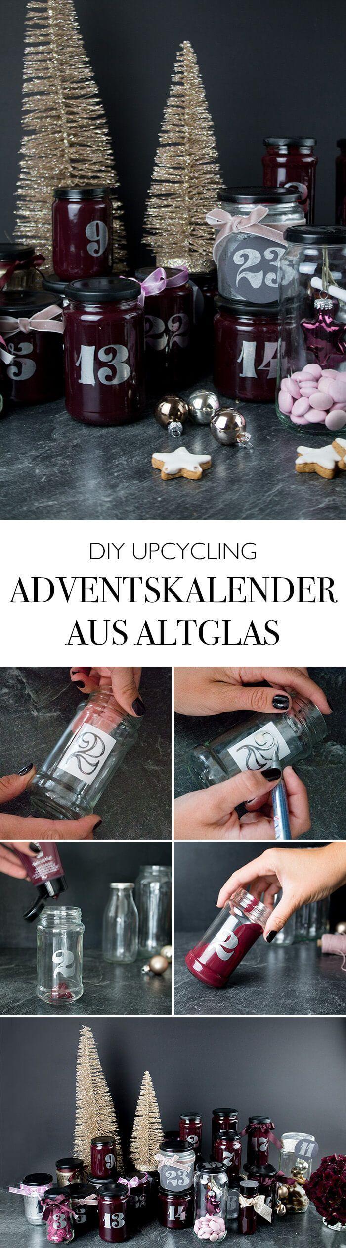 Adventskalender aus Altglas basteln – Weihnachten DIY Deko Blog #gemütliche Hä…