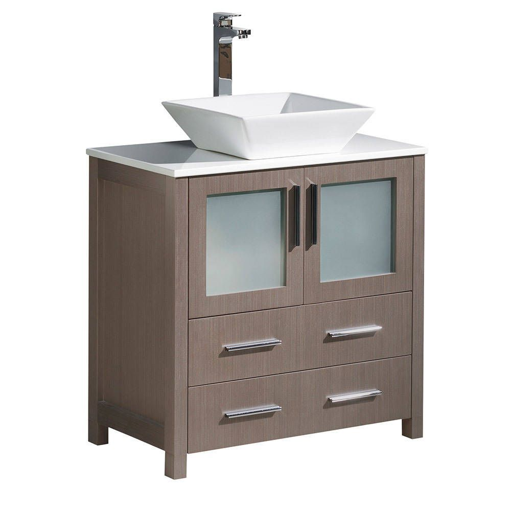 Fresca torino modern grey oak inch bathroom cabinet with top and
