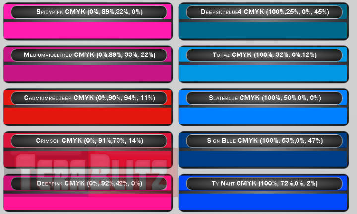 This Is The Cmyk Color Chart Cyan Magenta Yellow And Key Table