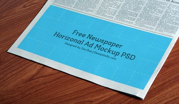 FreeNewspaperHorizonalAdMockupPSD mockups Pinterest – Newspaper Ad Template