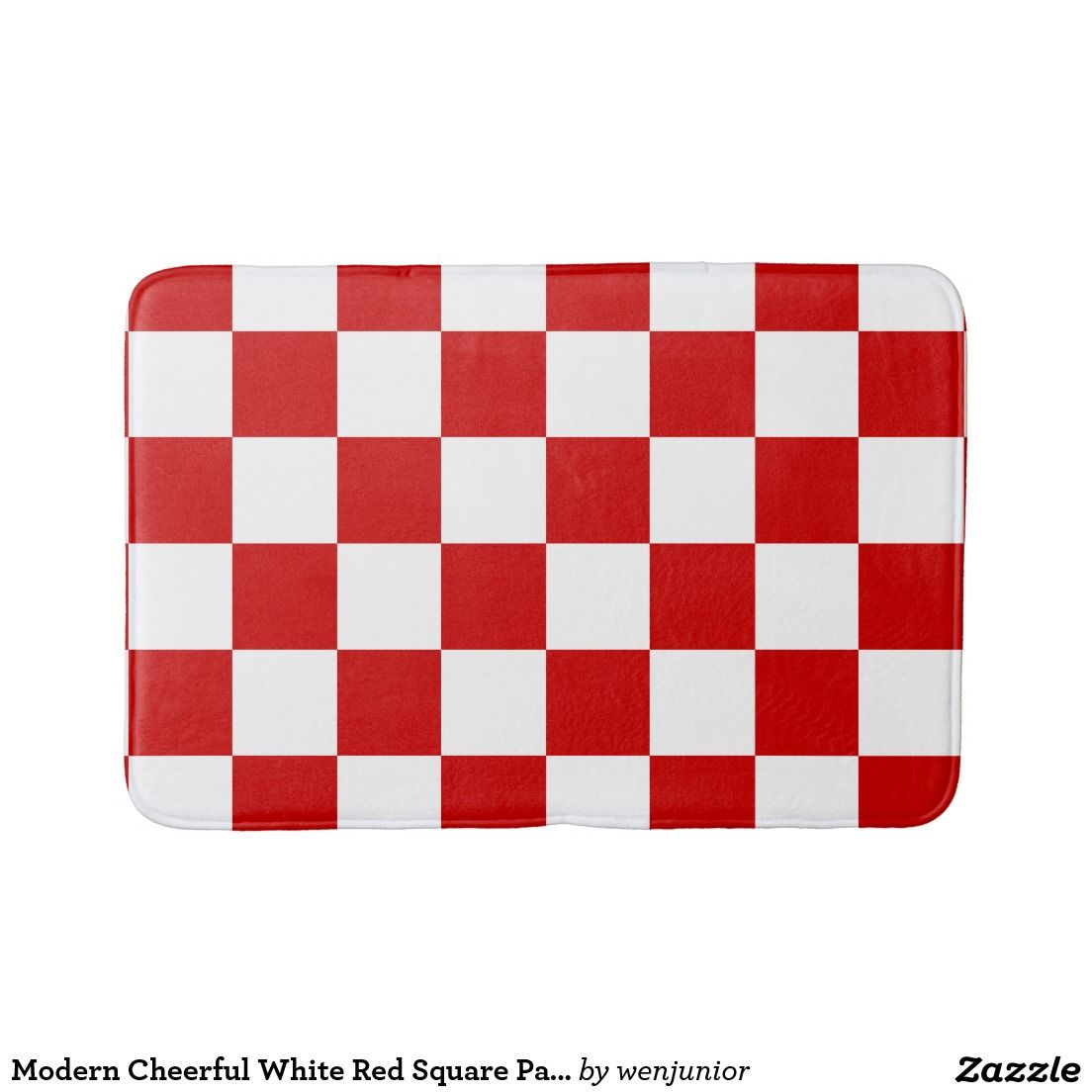 Modern Cheerful White Red Square Pattern Bathroom Mat Zazzle Com
