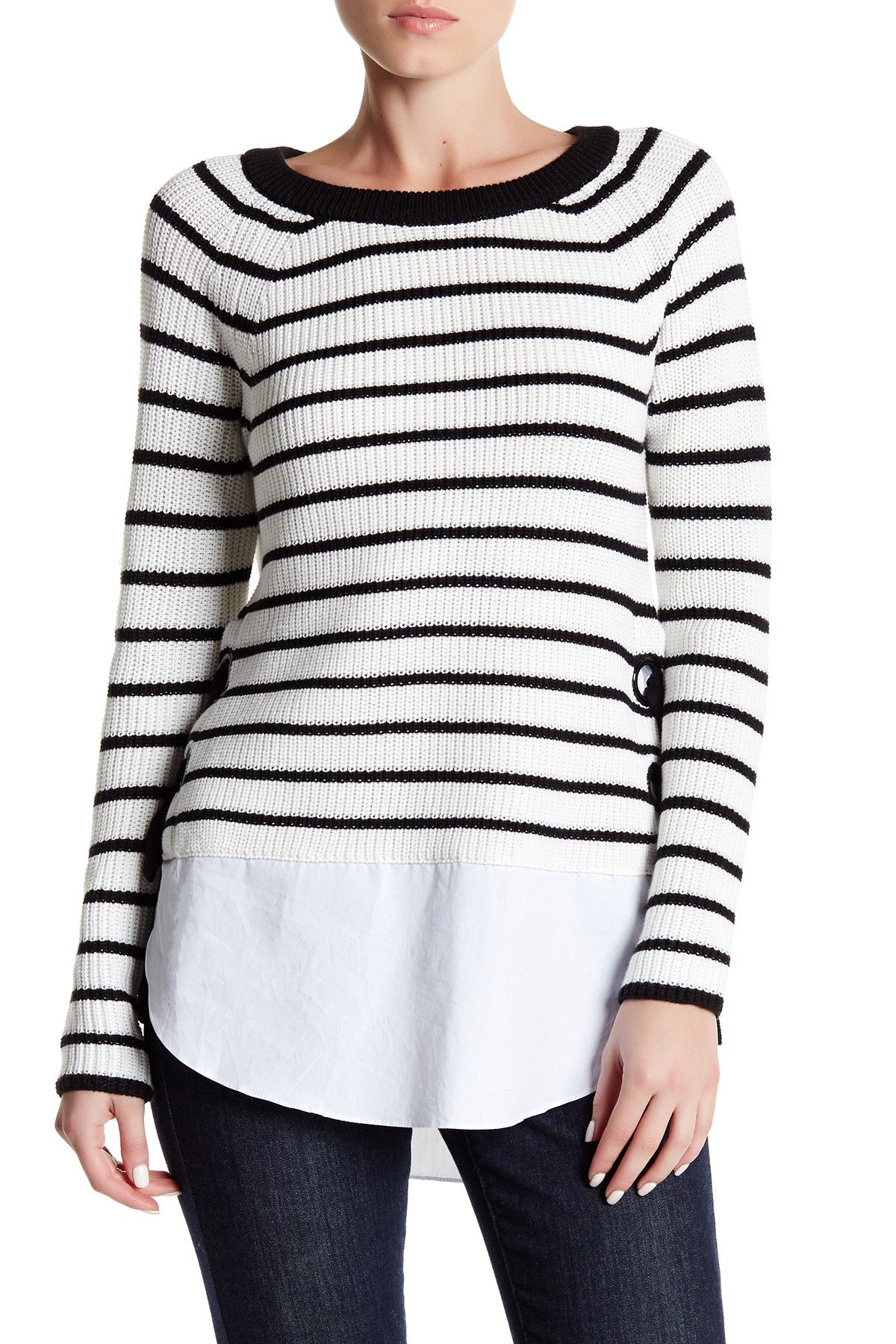 Cable & Gauge Stripe LaceUp Sweater Sweaters, Lace up