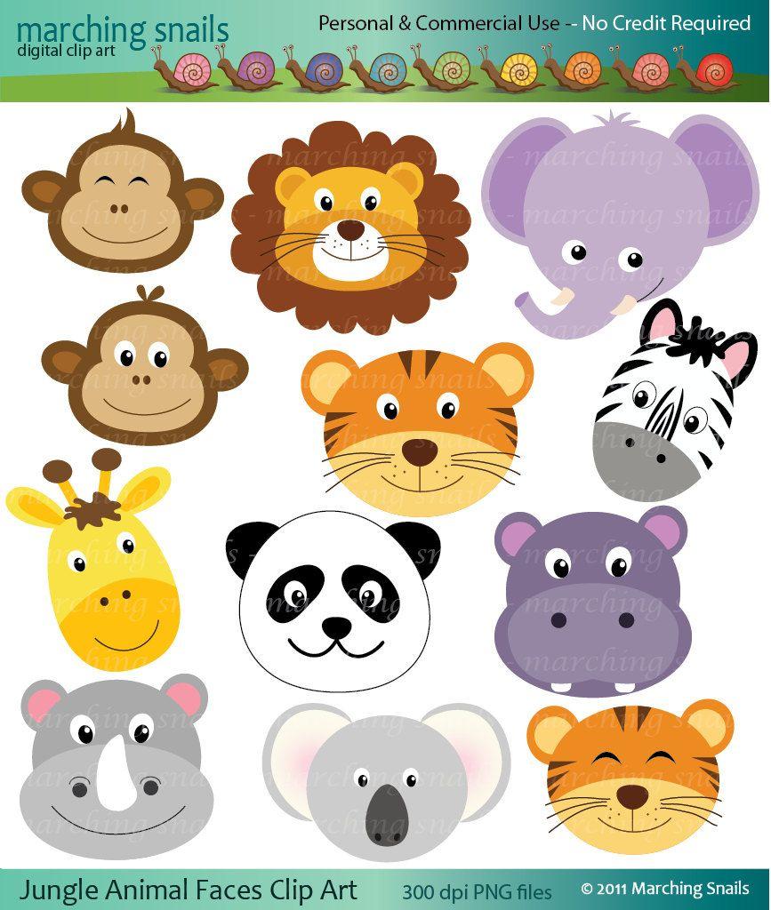 Jungle Animal Faces Digital Clip Arts Jungle Animals Animal Faces Baby Animals