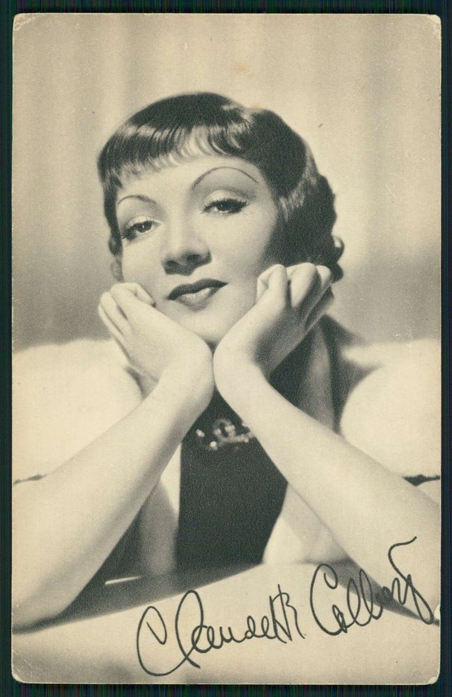 Claudette Colbert Movie Star Cinema original old c1920-1950s photo postcard aq33