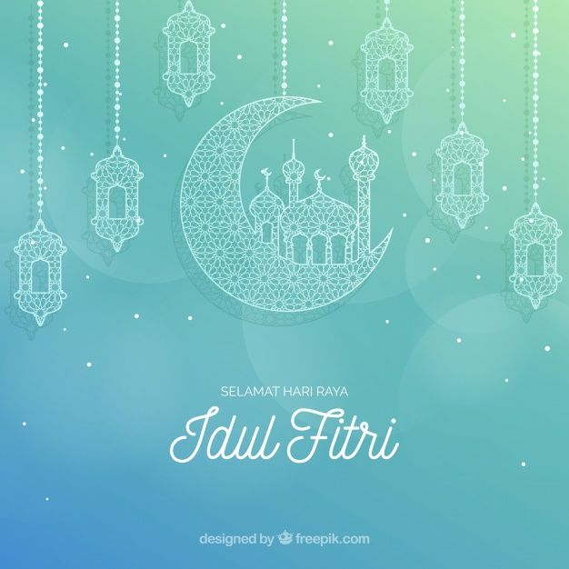 Download Lovely Idul Fitri Background With Flat Design For