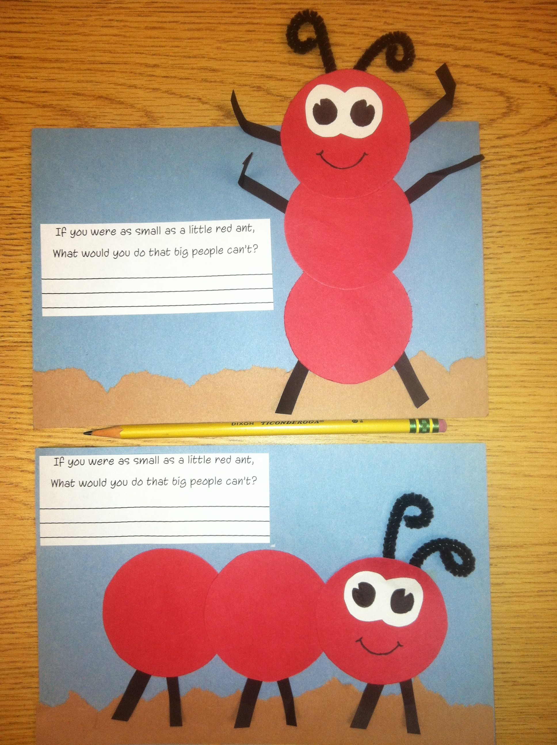 A ant craft if you were as small as a little red ant for Preschool art and craft