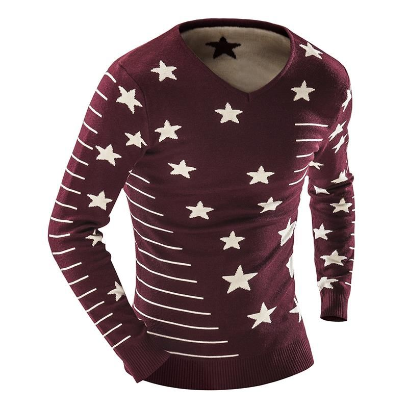 2016 Men'S Fashion Star Printing Sweater Men Leisure Slim Pull Homme O-Neck Long-Sleeved Sweater Solid Sweater Sweater Men XXL M