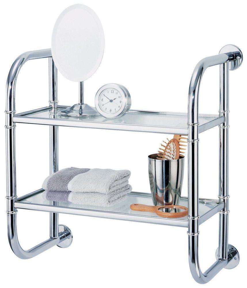 Glass 2-Tier Bathroom Shelves Chrome Toilet Shampoo Holder Organizer ...