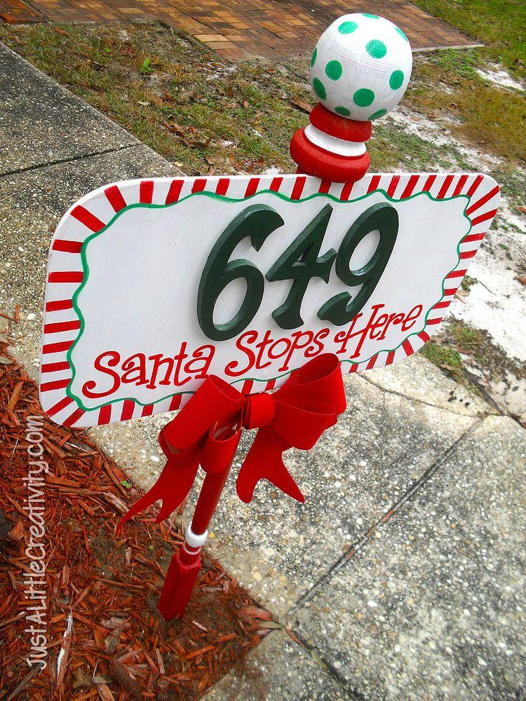 Santa Stops Here Address Street Sign Candy Land