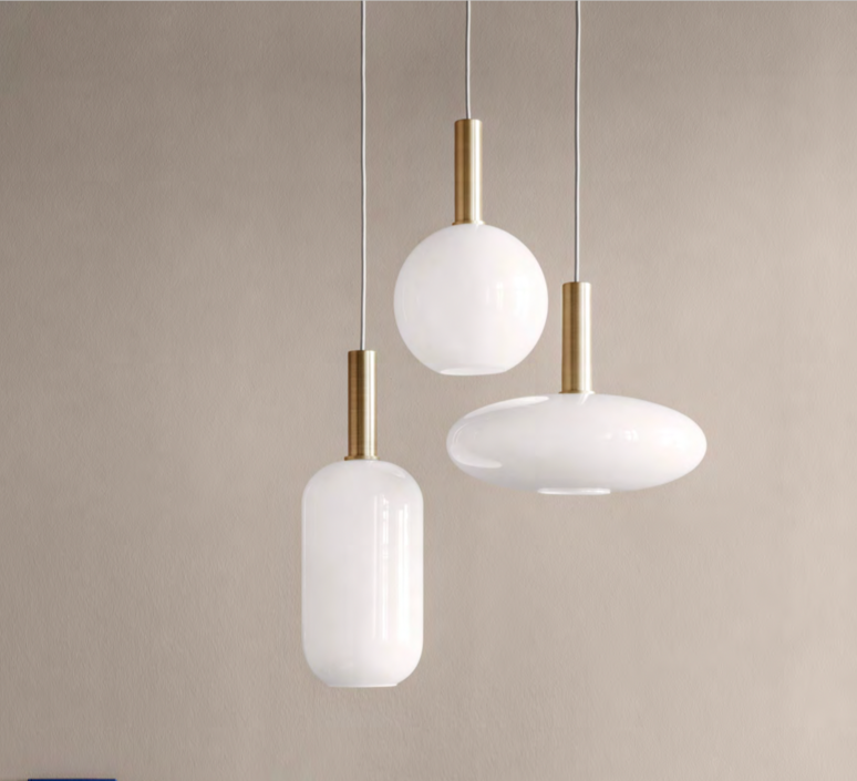 Pendant light, Collect lighting, brass and tall, white, gold, LED, Ø18,6cm, H51,2cm - Ferm Living #pendantlighting
