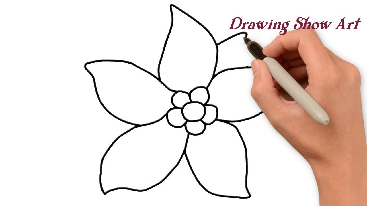 How To Draw Pretty Flowers Easy Step By Step Drawing Show Art Step By Step Drawing Flower Step By Step Flower Drawing