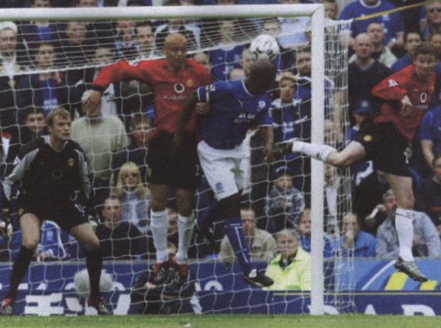 11 May 2003 Kevin Campbell gets his head to a cross from Lee Carsley to head home against Manchester United