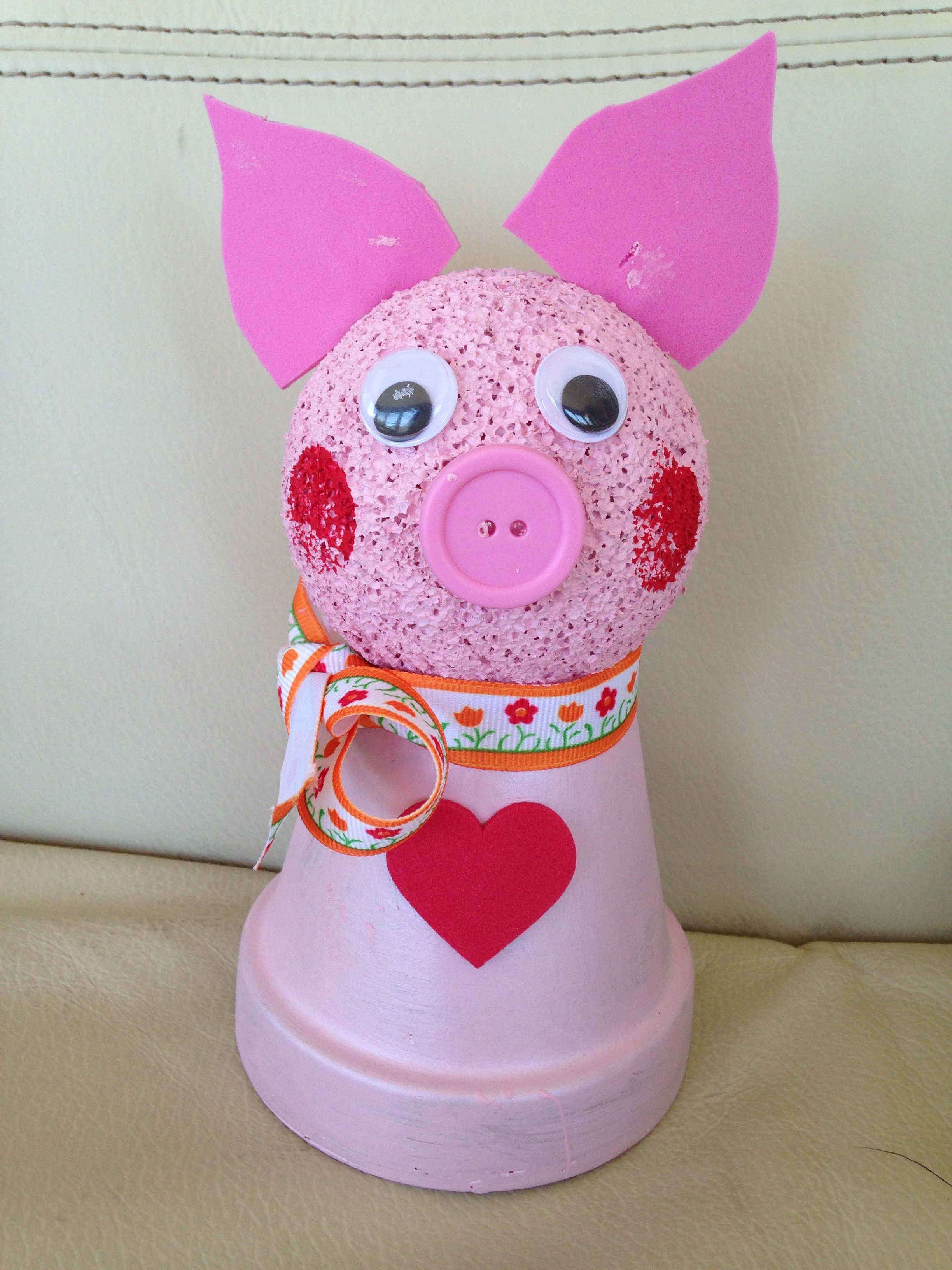 Fun pig craft with painted pot and styrofoam ball. Visit our website at bostonparentspaper.com