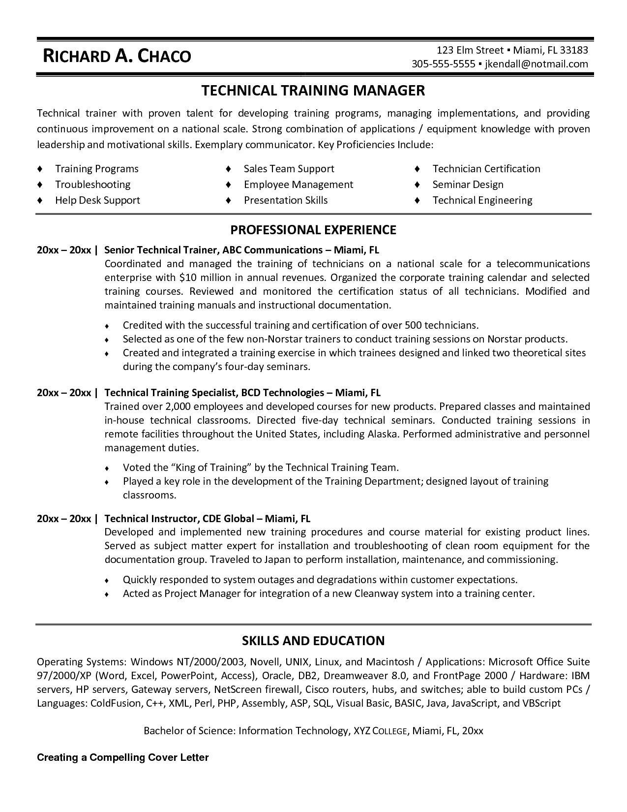 resume objective examples for trainer
