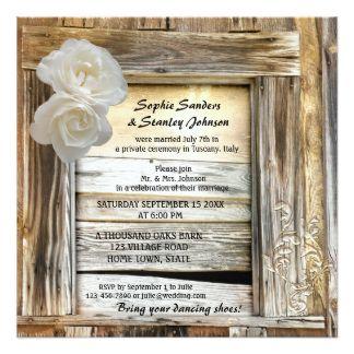 "Rustic Wood Barn Post Wedding Invitation 5.25"" Square Invitation Card"