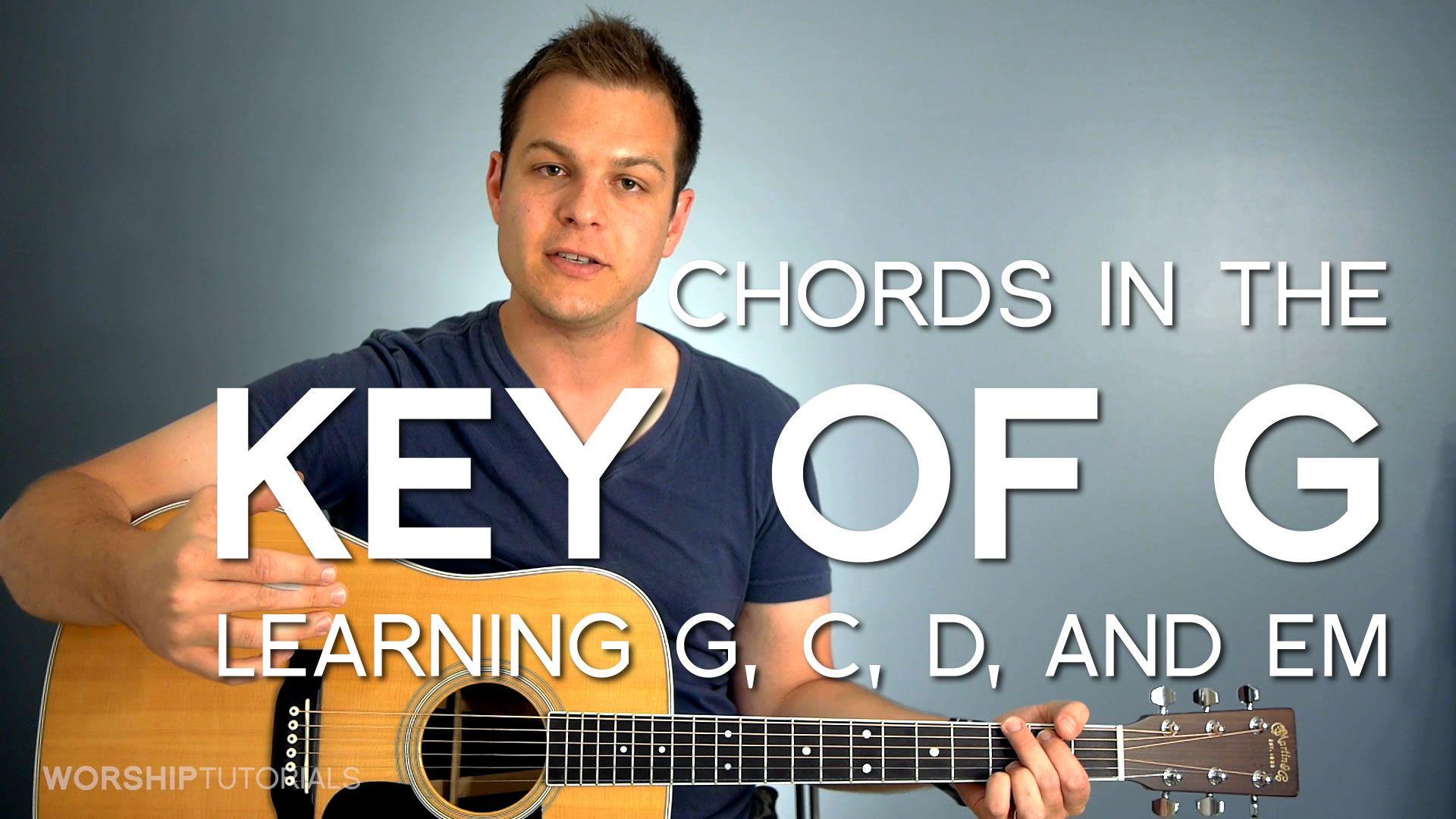 Chords in the key of g how to play g c d and em play