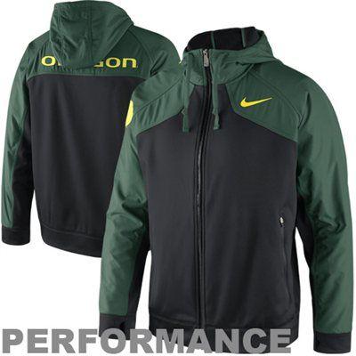 df38d2389e80d2 Nike Oregon Ducks Shield Full Zip Hooded Performance Jacket - Green Black