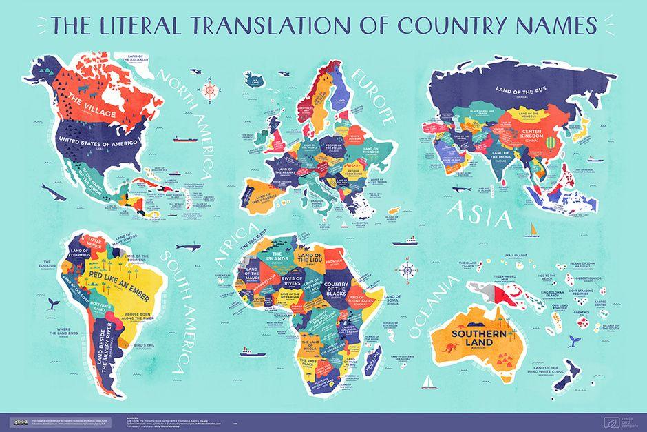 El Mapa Que Muestra El Significado De Los Nombres De Cada País Significados De Los Nombres Mapamundi Con Nombres Mapa De Palabras