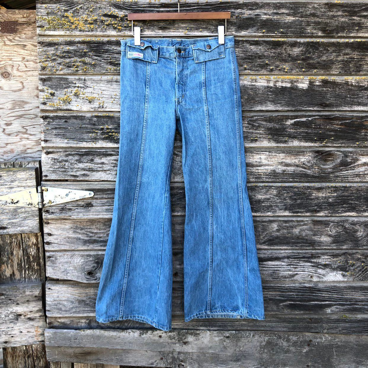 Indigo Dark Wash Boho Flare Jeans Boho Hippie 1970s Flapadoodles Bell Bottom Jeans 70s High Waisted Jeans 24 25 Waist Vintage Jeans