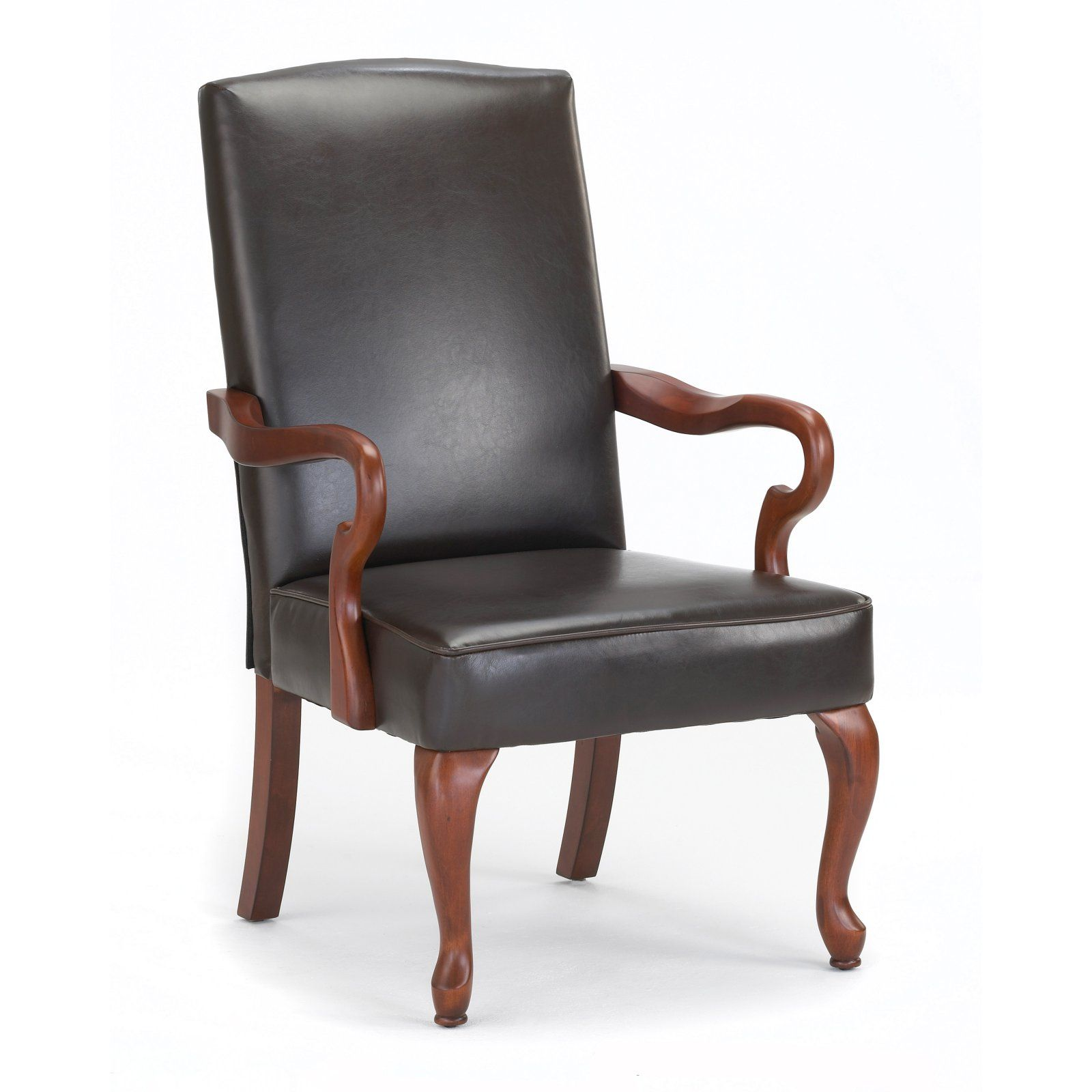 Fantastic Comfort Pointe Derby Brown Leather Gooseneck Arm Chair In Dailytribune Chair Design For Home Dailytribuneorg