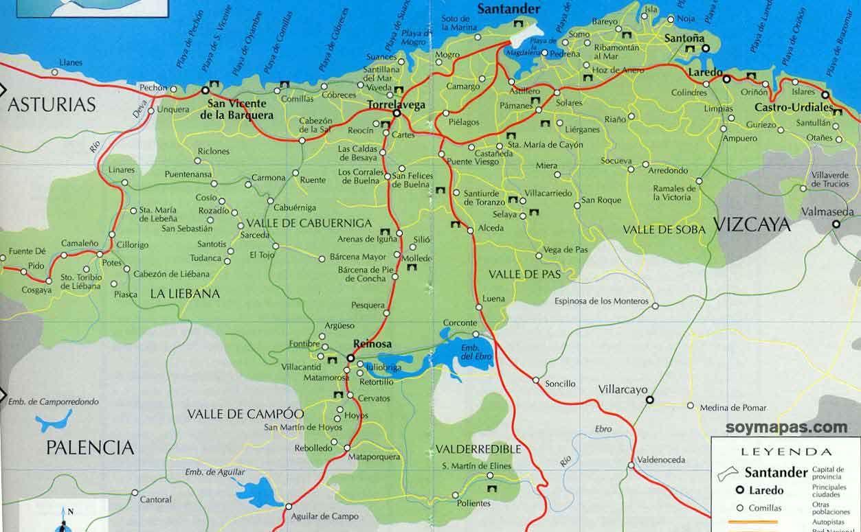 Resultado De Imagen De Mapa De Cantabria Para Imprimir Mapas
