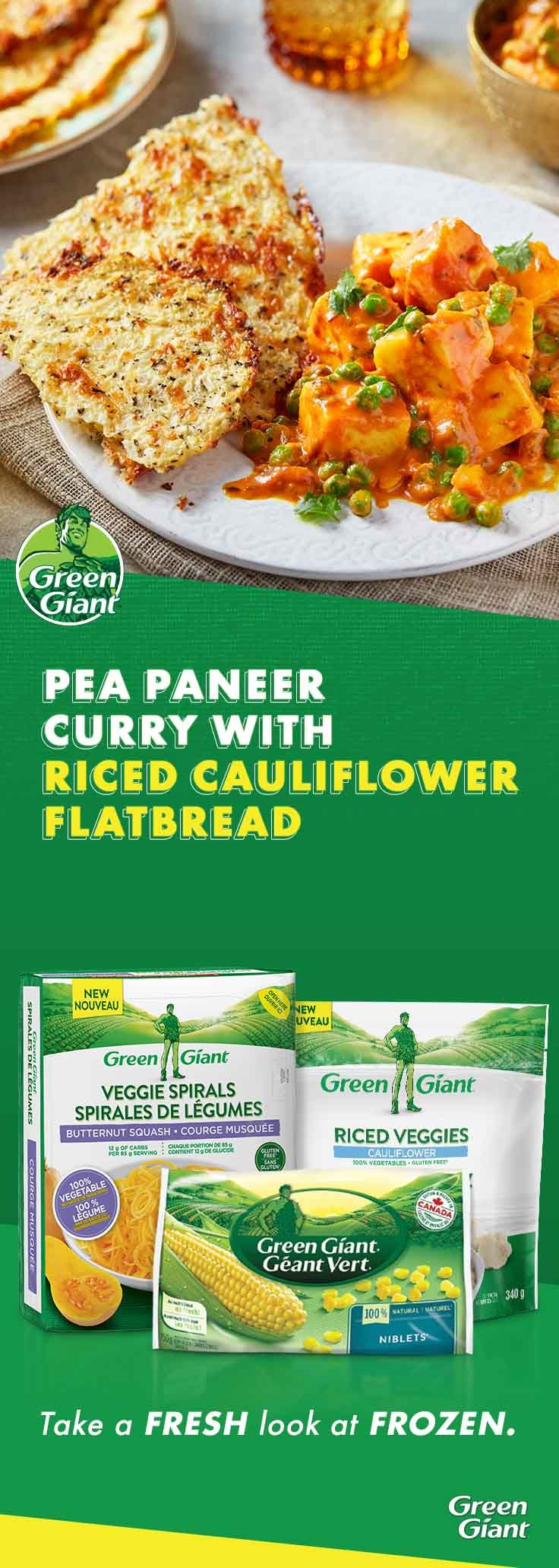 Pea Paneer Curry with Riced Cauliflower Flatbread | Green Giant Canada Recipes #ricedcauliflower