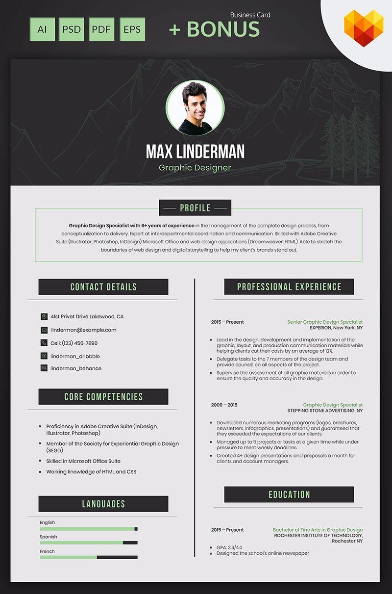 Graphic Design Resume Templates | Max Linderman Graphic Designer Resume Template Resume Cv