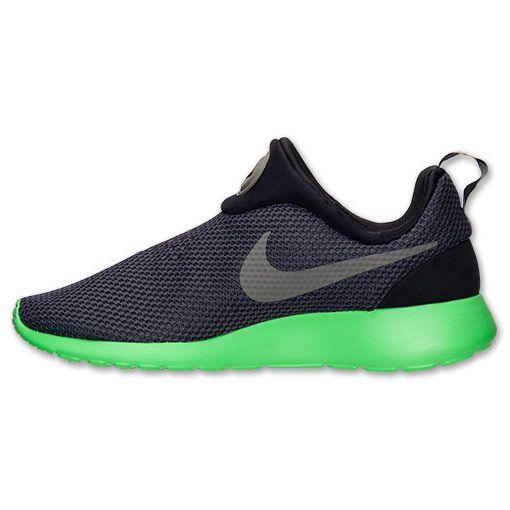 wholesale dealer b8627 96e1e 50% off Wholesale Mens Nike Roshe Run Slip On Casual Shoes Black Iron Green  Poison Green 644432 003